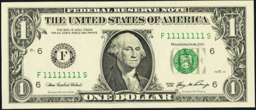 $1 Green Seal Federal Reserve Note