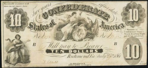 Picture of $10 1861 Confederate States of America Note