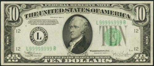 $10 Green Seal Federal Reserve Note