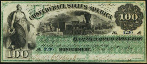 Picture of $100 1861 Confederate States Of America