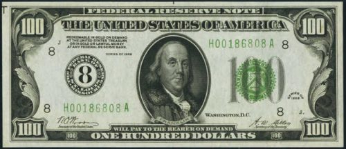 Picture of $100 1928 Green Seal Federal Reserve Note