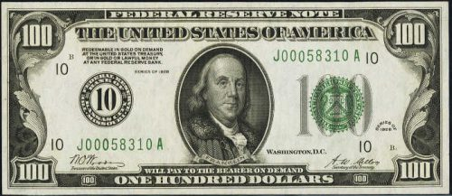 $100 Green Seal Federal Reserve Note