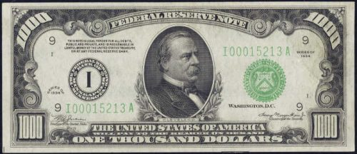 $1,000 Green Seal Federal Reserve Note