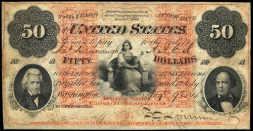 1861 $50 Interest Bearing Treasury Note