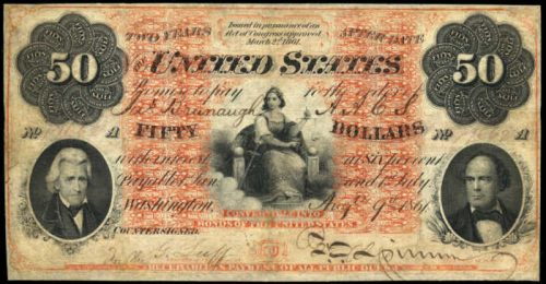 Picture of 1861 $50 Interest Bearing Treasury Note