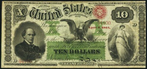 Picture of 1863 $10 Interest Bearing Treasury Note