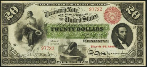 Picture of 1863 $20 Interest Bearing Treasury Note