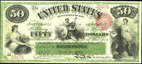 Picture of 1863 $50 Interest Bearing Note