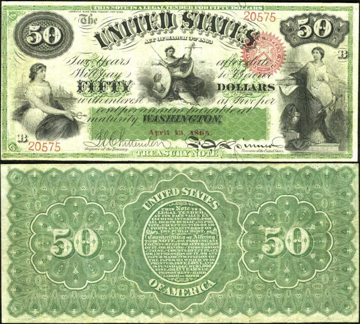 Picture of a $50 dollar interest bearing treasury bill with 3 Women Representing Caduceus, Justice, and Loyalty on it from 1863