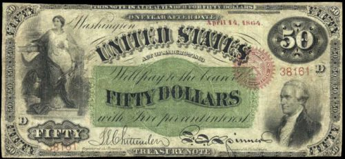 Picture of 1863 $50 Interest Bearing Treasury Note