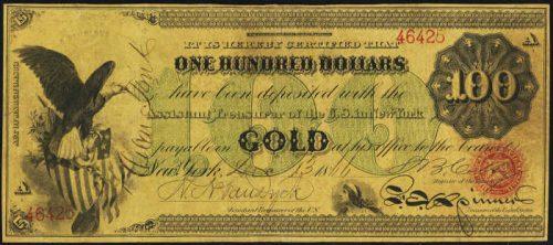 1863 Gold Certificate $100