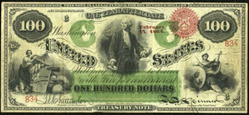 Picture of 1864 $100 Interest Bearing Treasury Note