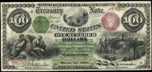 Picture of 1864 $100 Interest Bearing United States Treasury Note