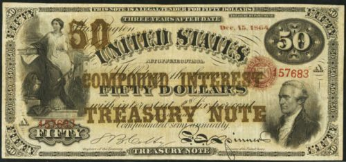 Picture of 1864 $50 Compound Interest Treasury Note