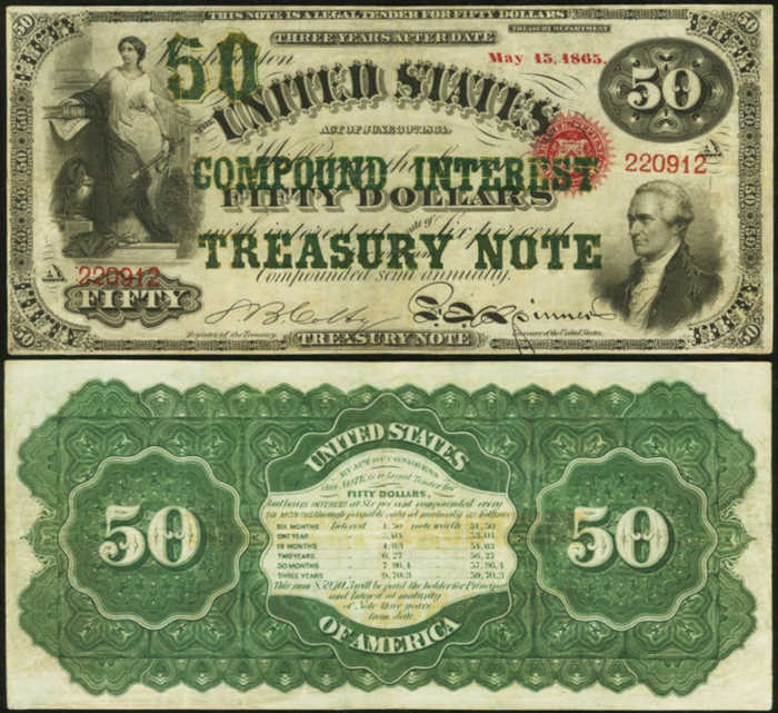 Picture of a $50 dollar compound interest bearing treasury bill with Alexander Hamilton's Face on it from 1864