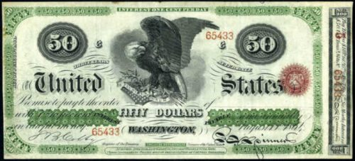 Picture of 1864 $50 Interest Bearing Treasury Note