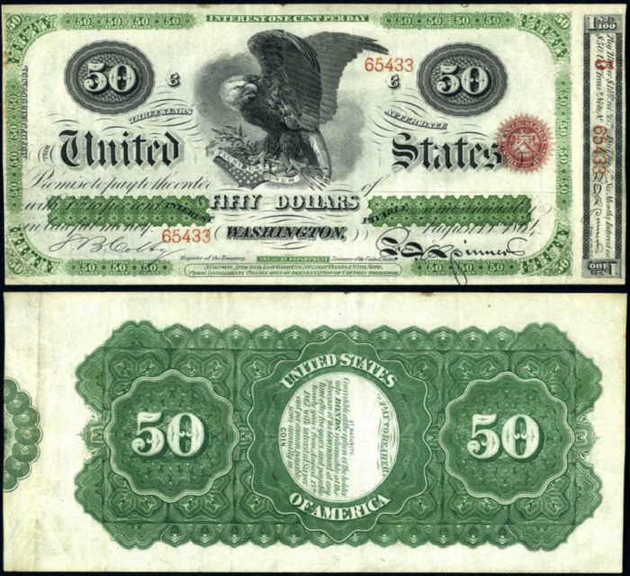 Picture of a $50 dollar interest bearing treasury bill with a Spread Eagle on it from 1864