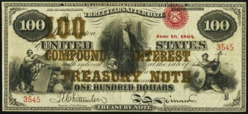 Picture of 1865 $100 Compound Interest Bearing United States Treasury Note