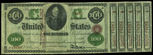 Picture of 1865 $100 Interest Bearing United States Treasury Note