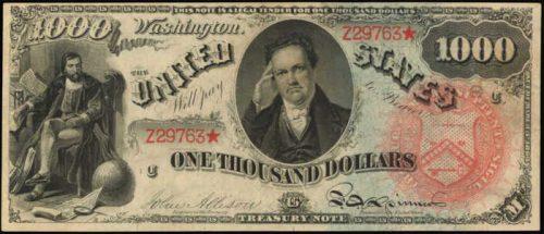 1869 $1000 Legal Tender Rainbow Value