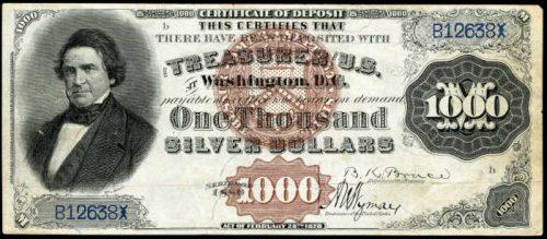 1880 $1000 Silver Certificate Value