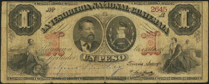 1881 1 peso Guatemala Tesoreria Nacional banknote