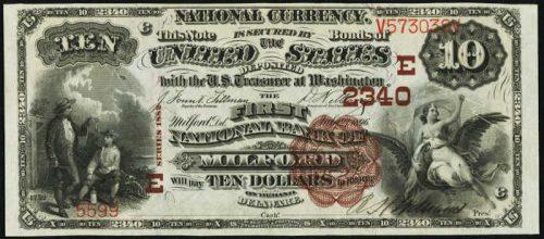 1882 $10 Milford Delaware Brown Back National Bank Note