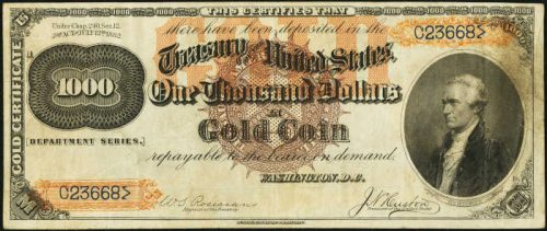 1882 Gold Certificate $1,000