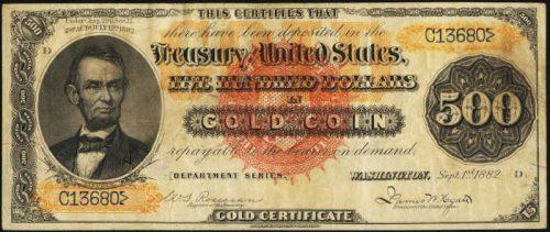 1882 Gold Certificate $500