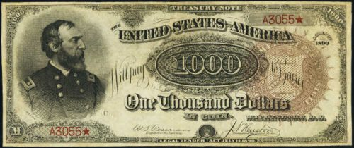 1890 Treasury Note $1,000 Brown Seal Grand Watermelon