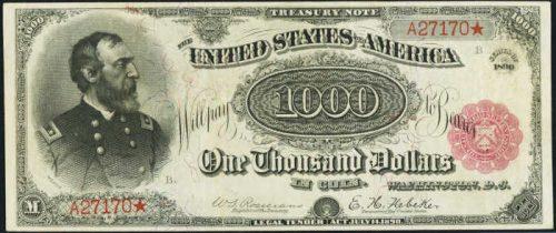 1890 Treasury Note $1,000 Grand Watermelon