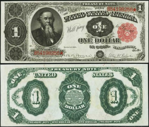 1891 $1 Treasury Note with small red seal and  beared man Stanton to the Left