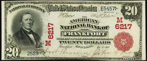 1902 $20 American National Bank of Frankfort Indiana Red Seal National Bank Note