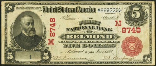 1902 $5 Belmond Iowa Red Seal Serial Number 1 National Bank Note