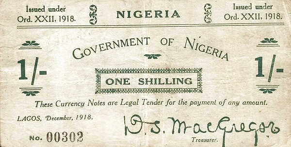 1918 1 Shilling Government of Nigeria Banknote