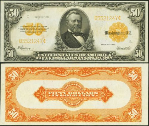Picture of a $50 large size gold certificate with Grant's face on it from 1922