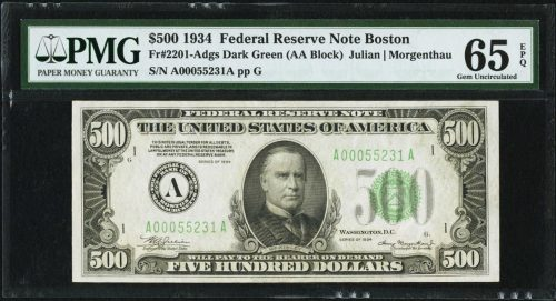 Picture of 1934 $500 Federal Reserve Note PMG 65EPQ
