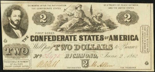 Picture of $2 1862 Confederate States of America Note