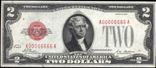 $2 1928 Fancy Serial Number Legal Tender Note