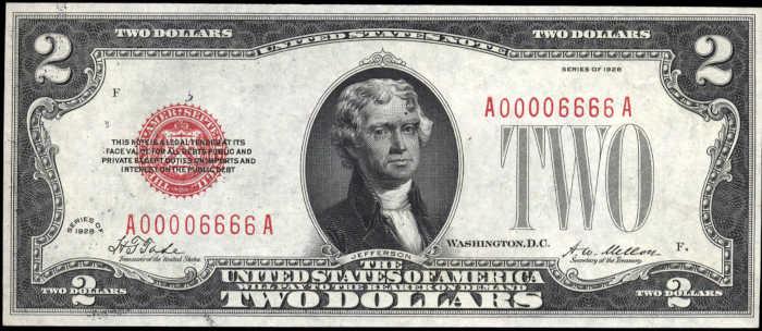$2 1928 Fancy Serial Number Legal Tender Note