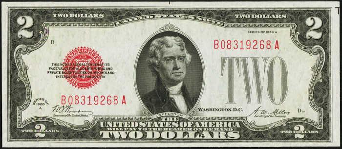$2 1928A Legal Tender Note