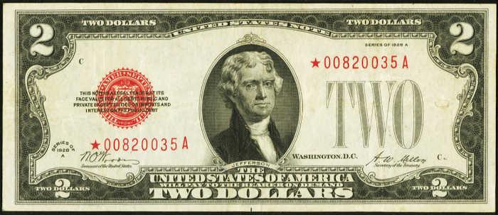 $2 1928A Star Legal Tender Note
