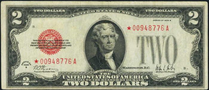$2 1928B Star Legal Tender Note