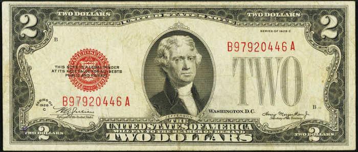 $2 1928C Mule Legal Tender Note