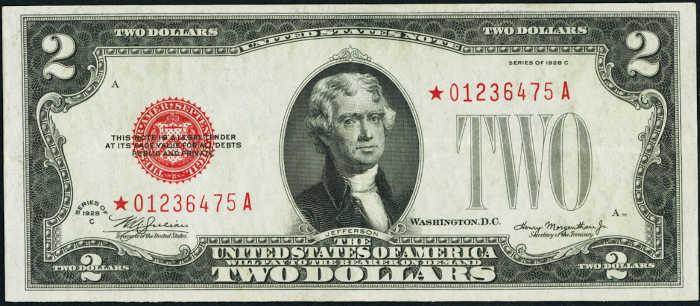 $2 1928C Star Legal Tender Note