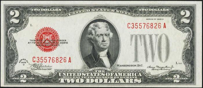 $2 1928D Mule Legal Tender Note