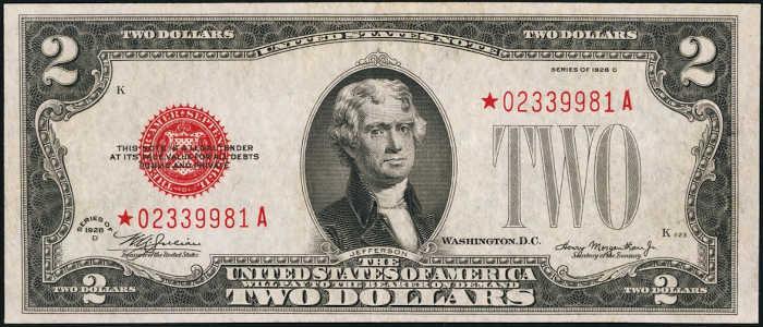 $2 1928D Mule Star Legal Tender Note