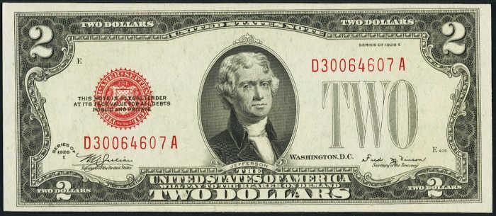 $2 1928E Legal Tender Note