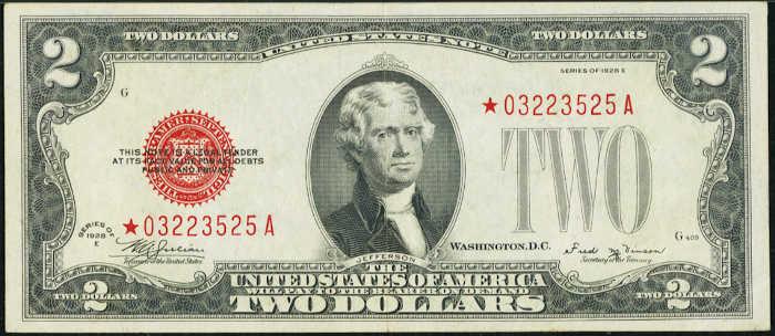 $2 1928E Star Legal Tender Note