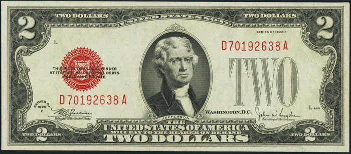 $2 1928F Legal Tender Note